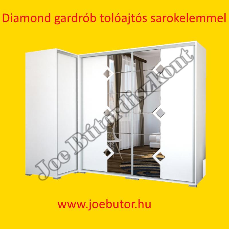 Diamond Tolóajtós Gardrób sarokelemmel