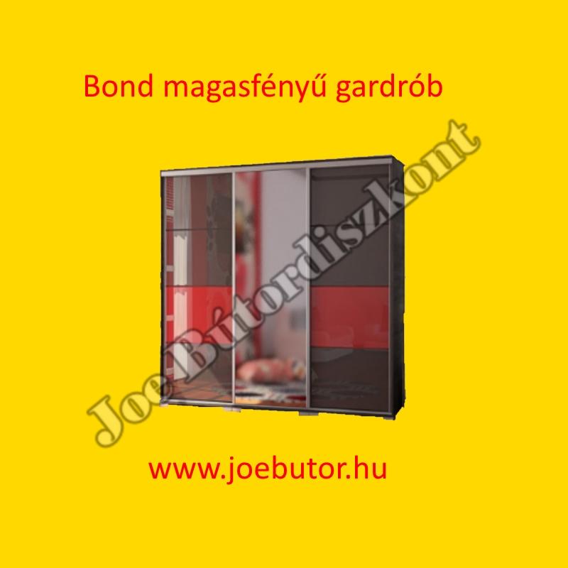 Bond magasfényű tolóajtós gardrób 239 cm