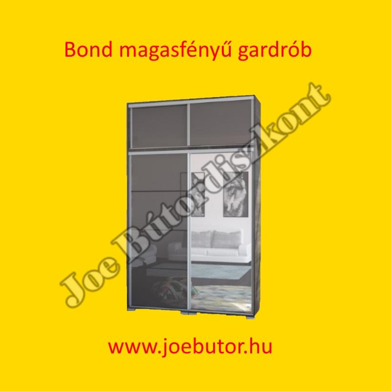 Bond magasfényű tolóajtós gardrób 160 cm magasítóval